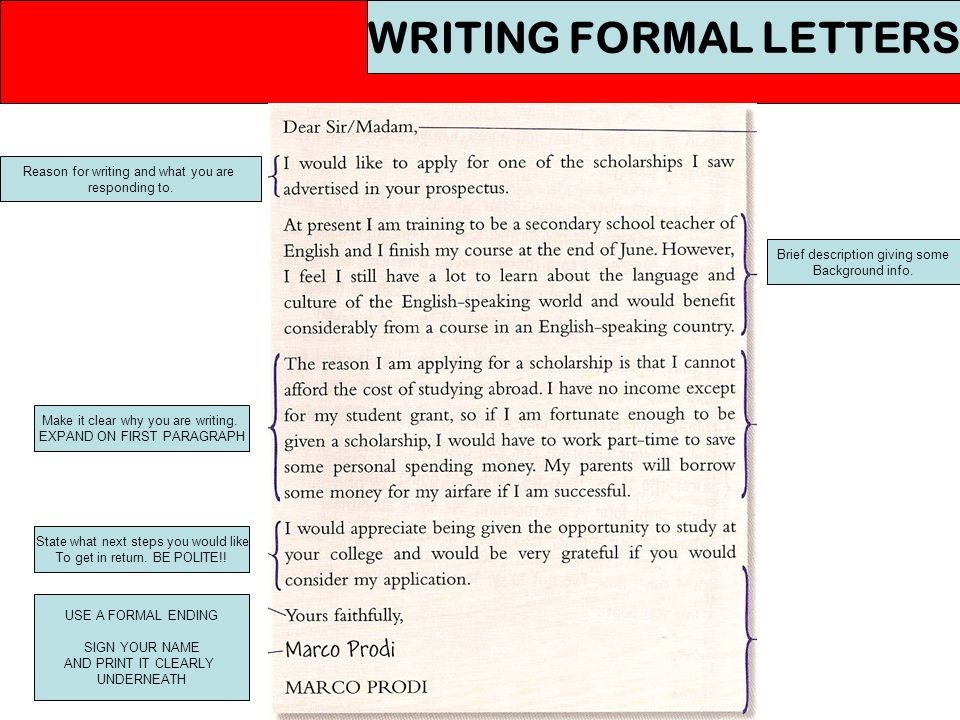 writing formal letters