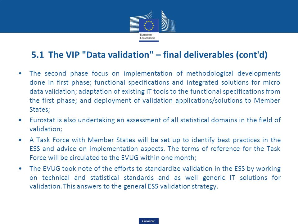 5.1 The VIP Data validation – final deliverables (cont d)