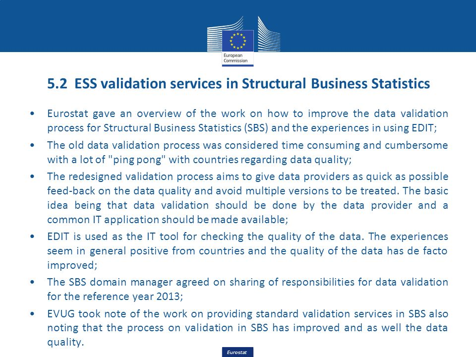 5.2 ESS validation services in Structural Business Statistics