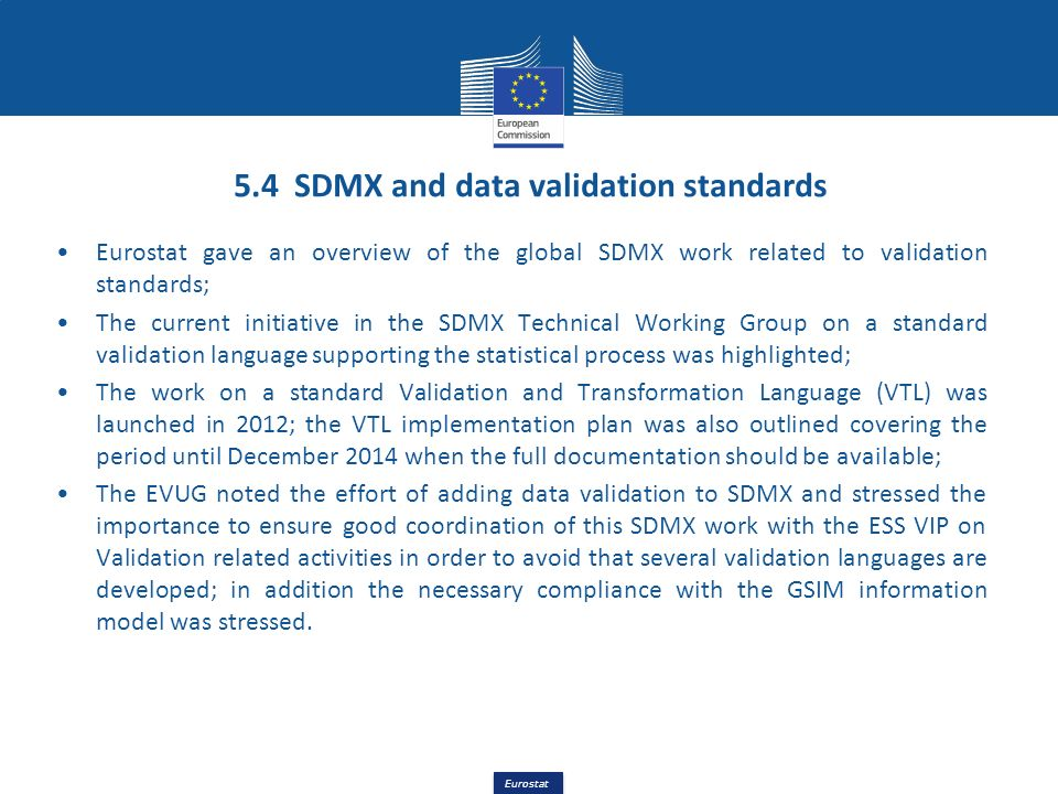 5.4 SDMX and data validation standards