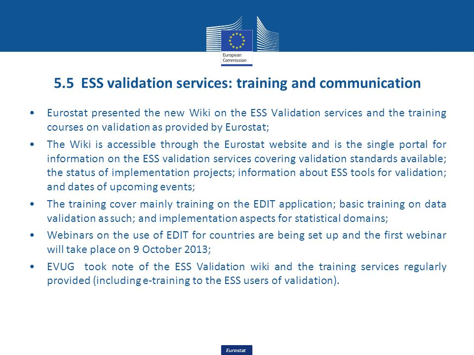 5.5 ESS validation services: training and communication