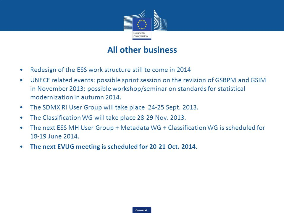 All other business Redesign of the ESS work structure still to come in 2014.