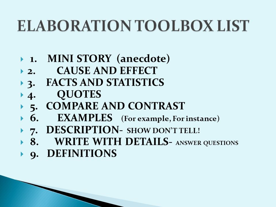 20 ELABORATION TOOLBOX LIST