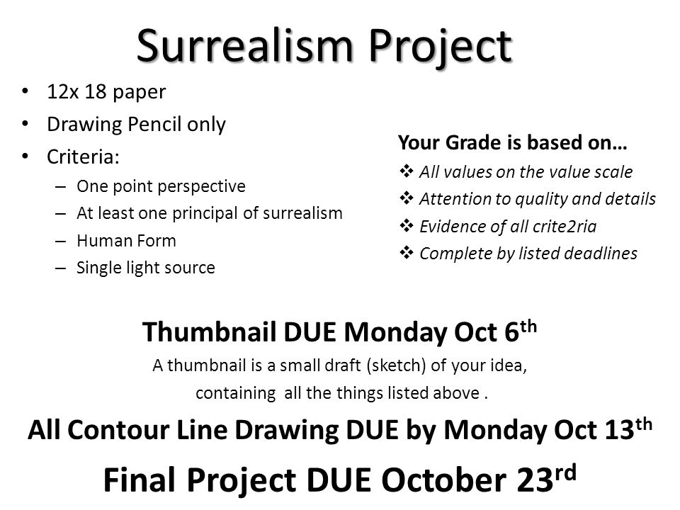 Surrealism Project Final Project DUE October 23rd