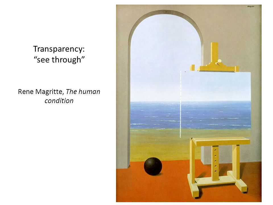 Transparency: see through Rene Magritte, The human condition