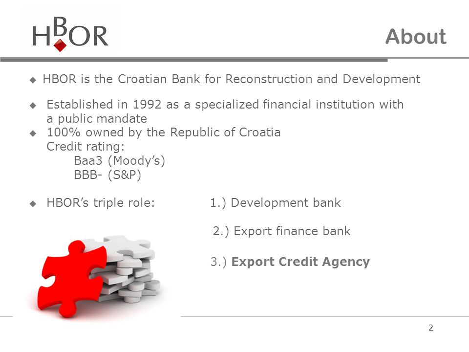 About HBOR is the Croatian Bank for Reconstruction and Development