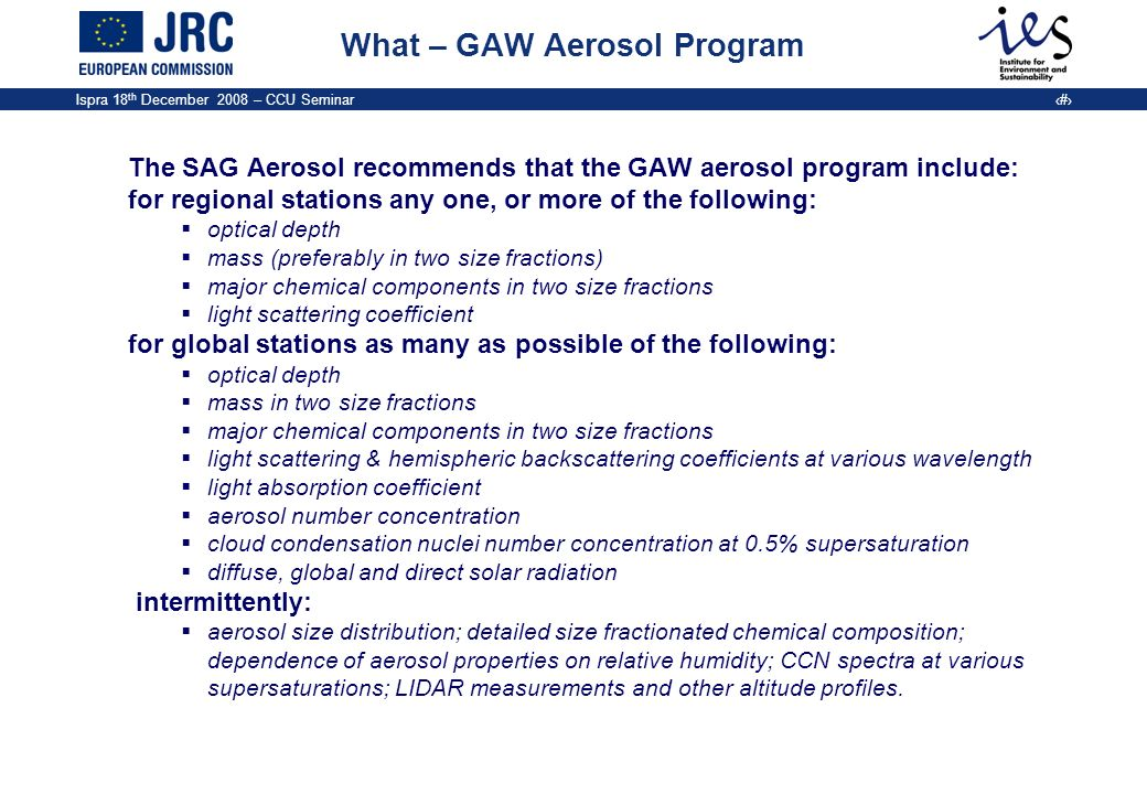 What – GAW Aerosol Program