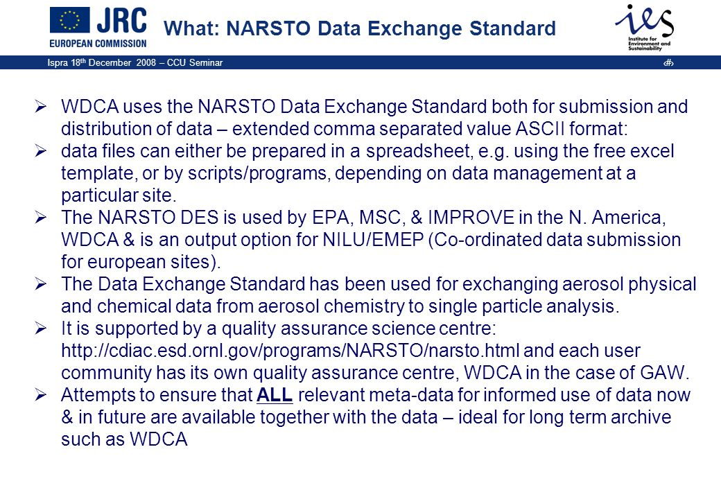 What: NARSTO Data Exchange Standard