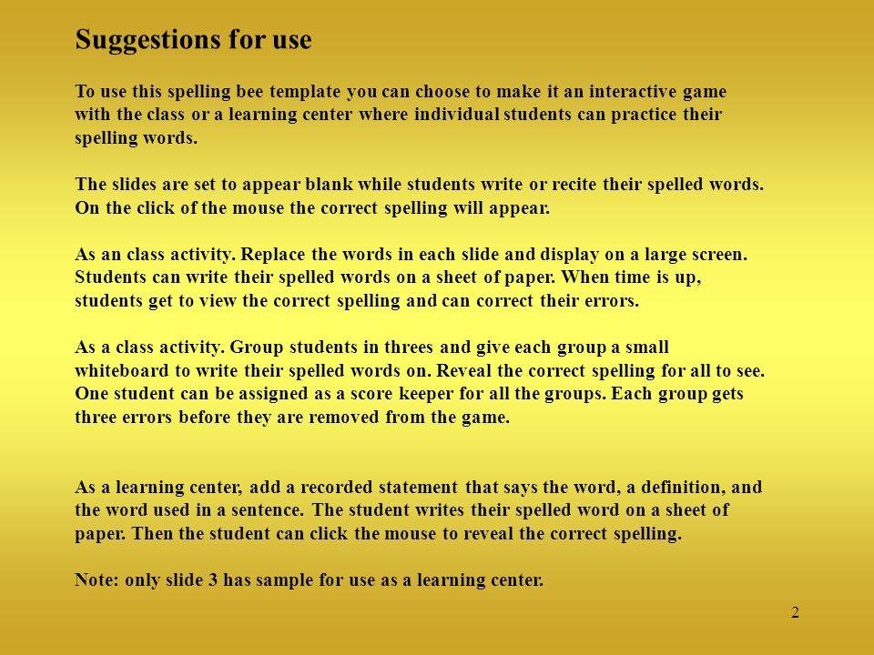5th Grade Spelling Bee  - ppt video online download