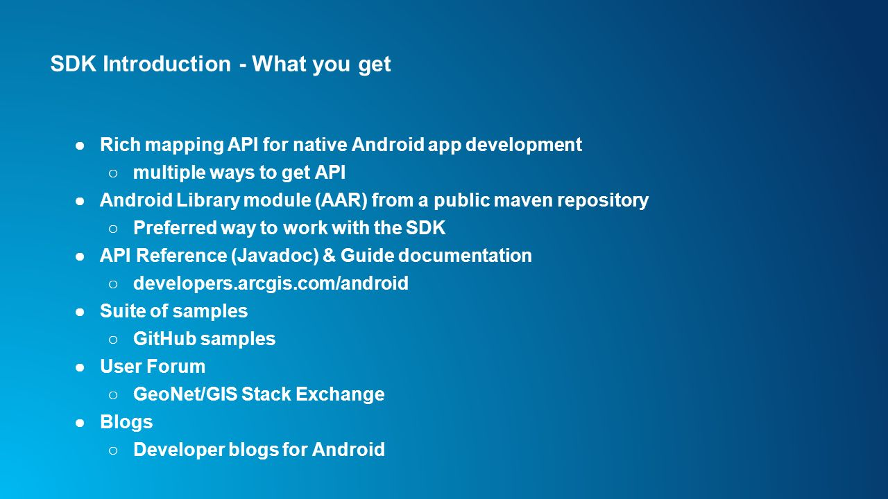 Developing Android Apps with the ArcGIS Runtime SDK for Android