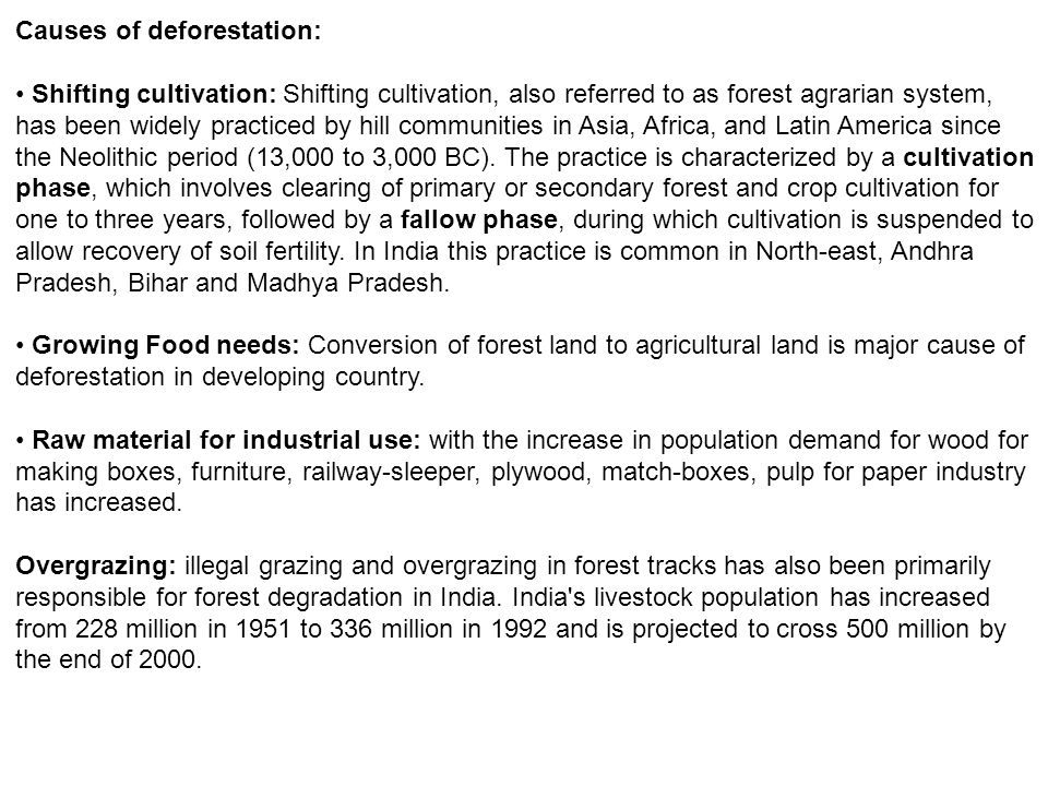 Causes of deforestation: