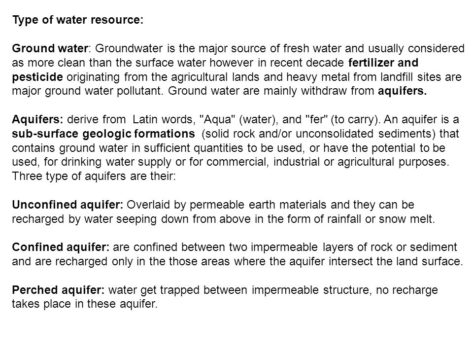 Type of water resource: