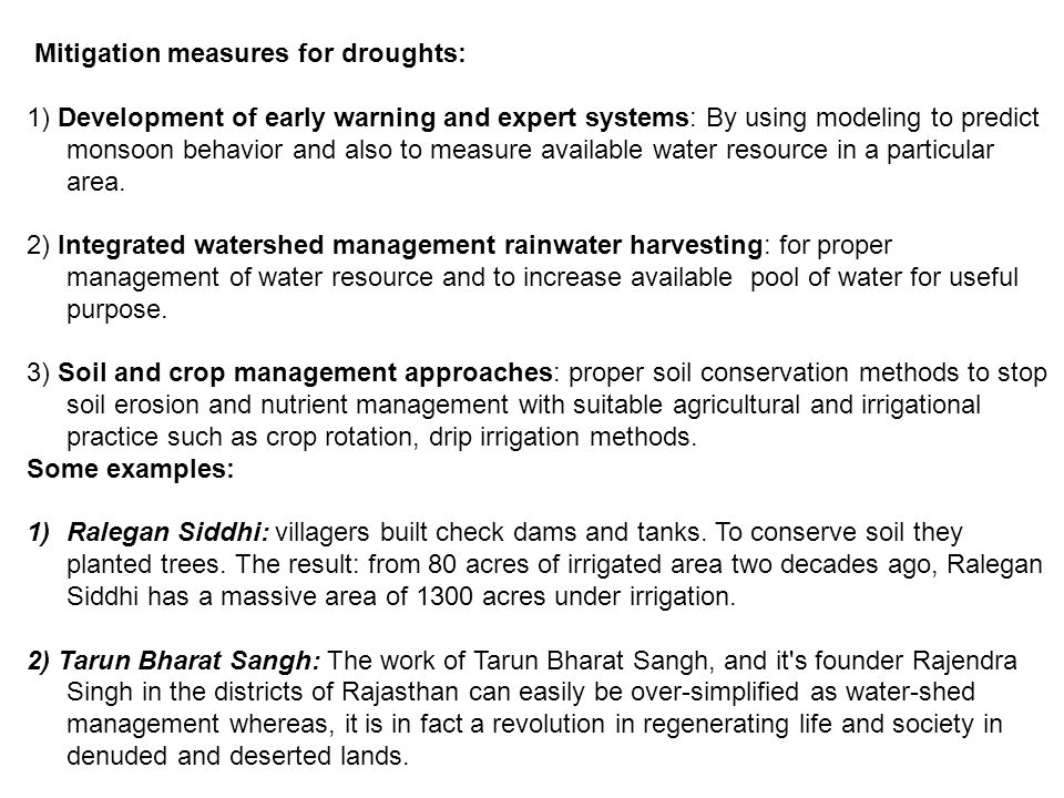 Mitigation measures for droughts: