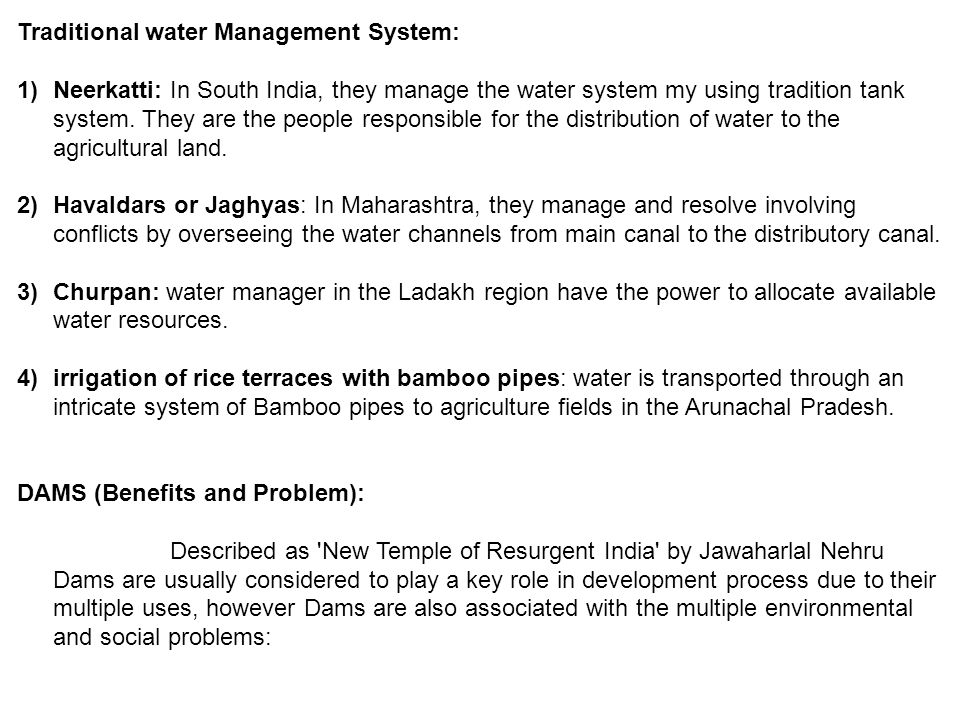 Traditional water Management System: