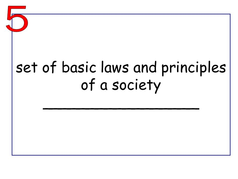 set of basic laws and principles of a society _________________