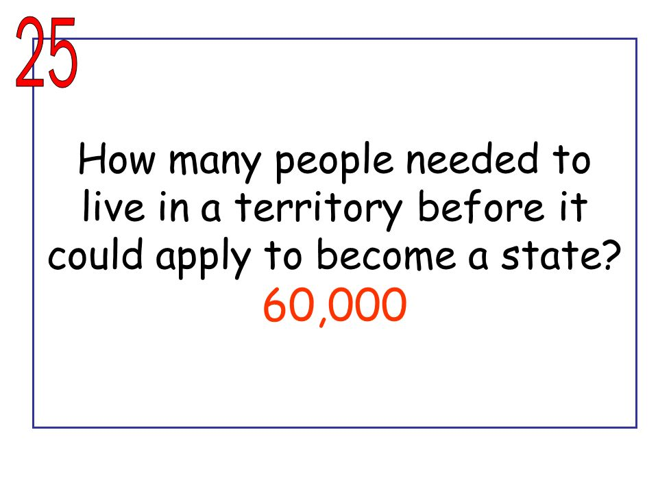 25 How many people needed to live in a territory before it could apply to become a state 60,000