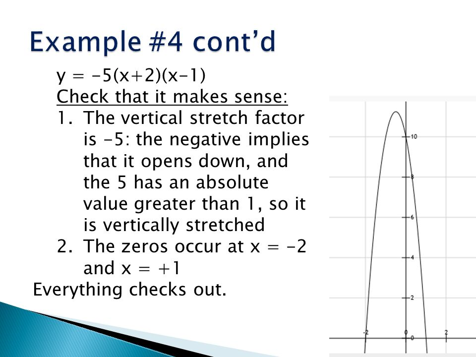 Example #4 cont'd y = -5(x+2)(x-1) Check that it makes sense: