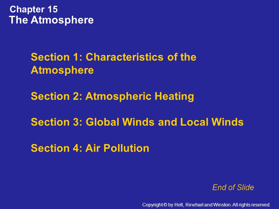 Section 1: Characteristics of the Atmosphere