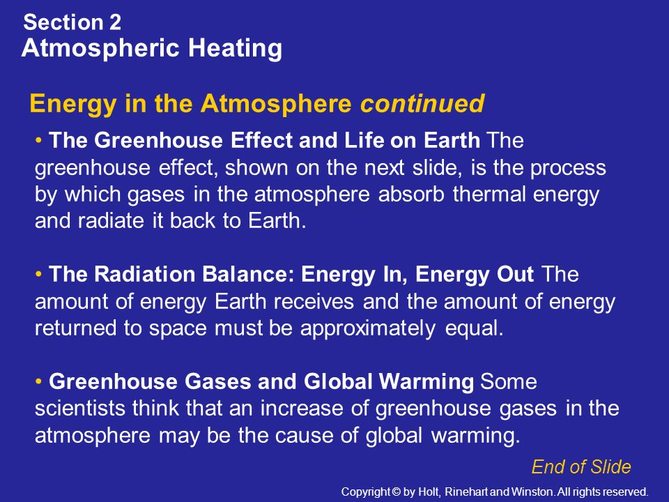 Energy in the Atmosphere continued