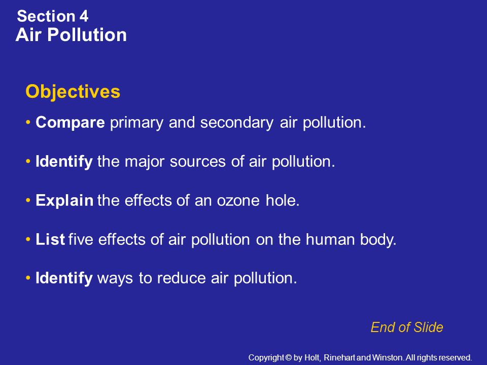 Air Pollution Objectives Section 4