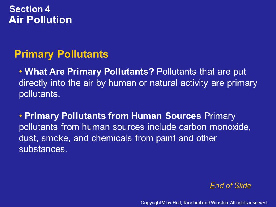 Air Pollution Primary Pollutants Section 4