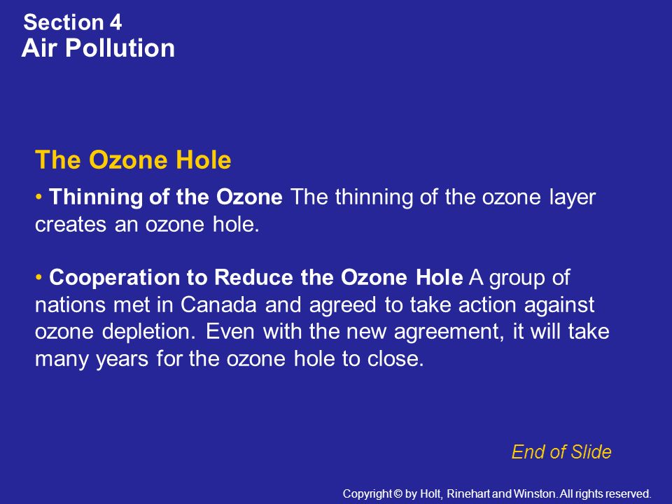 Air Pollution The Ozone Hole Section 4