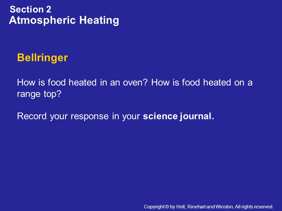 Atmospheric Heating Bellringer Section 2