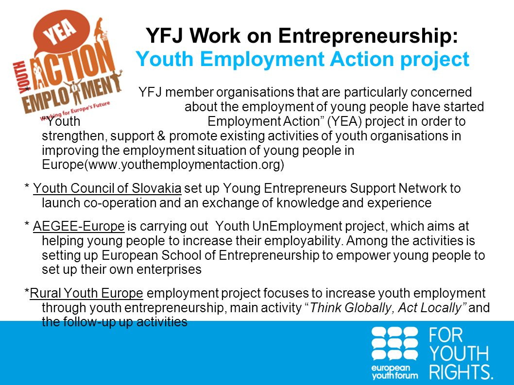YFJ Work on Entrepreneurship: Youth Employment Action project