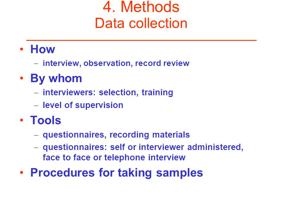 4. Methods Data collection