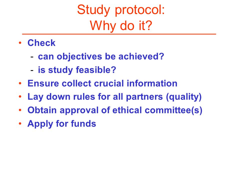 Study protocol: Why do it Check can objectives be achieved