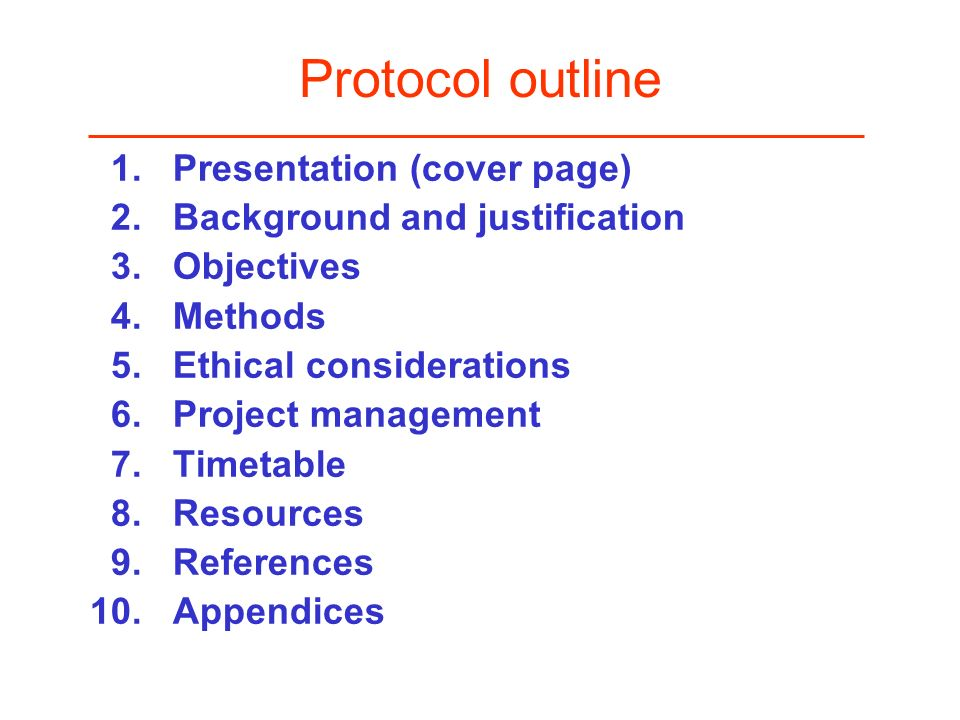 Protocol outline 1. Presentation (cover page)