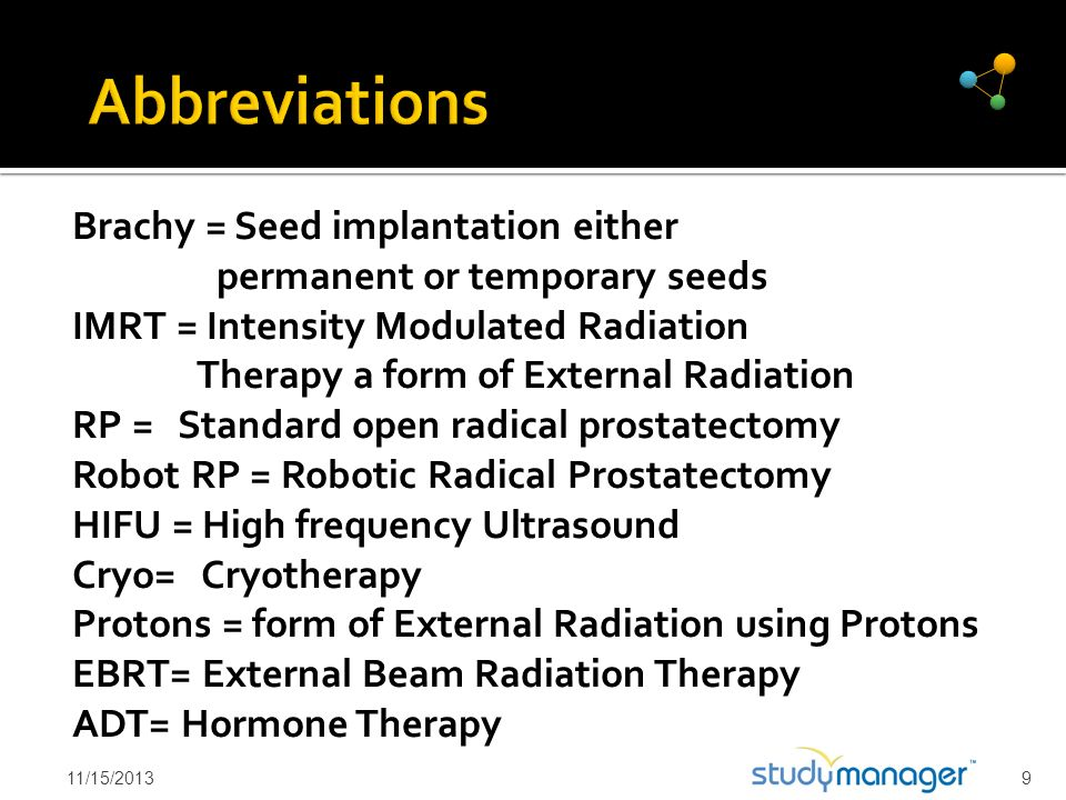 Abbreviations Brachy = Seed implantation either permanent or temporary seeds.