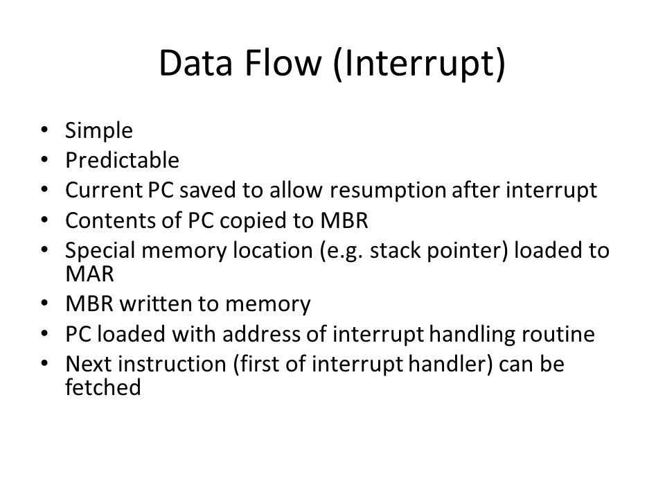 Data Flow (Interrupt) Simple Predictable
