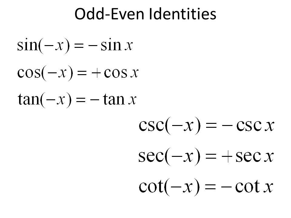 Chapter 7 section 7. 1 fundamental identities. Trigonometric.