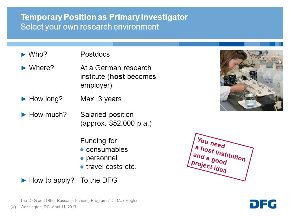 Temporary Position as Primary Investigator