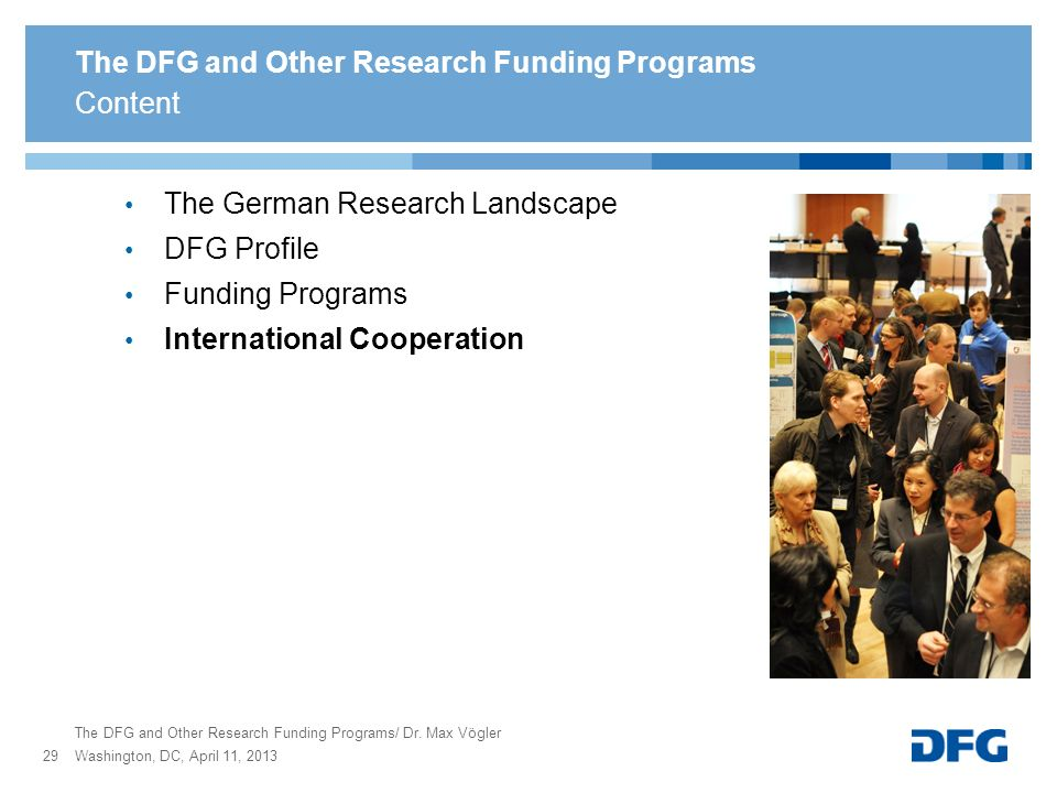 The DFG and Other Research Funding Programs