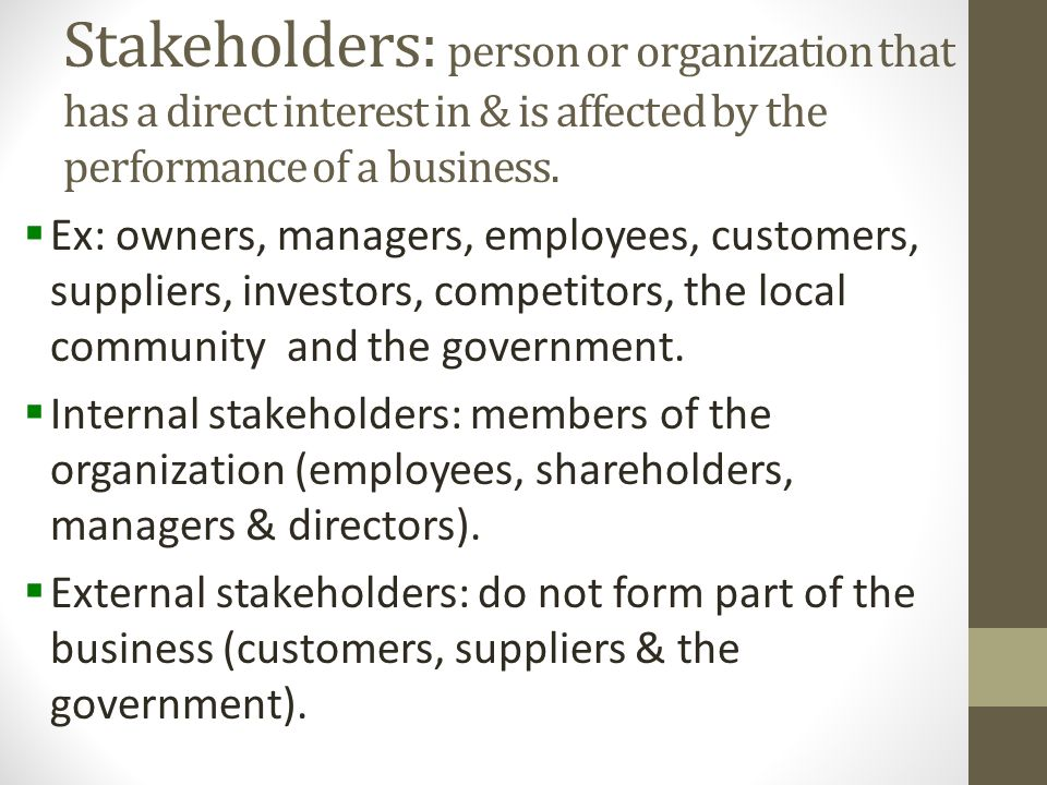 internal and external stakeholders of a company