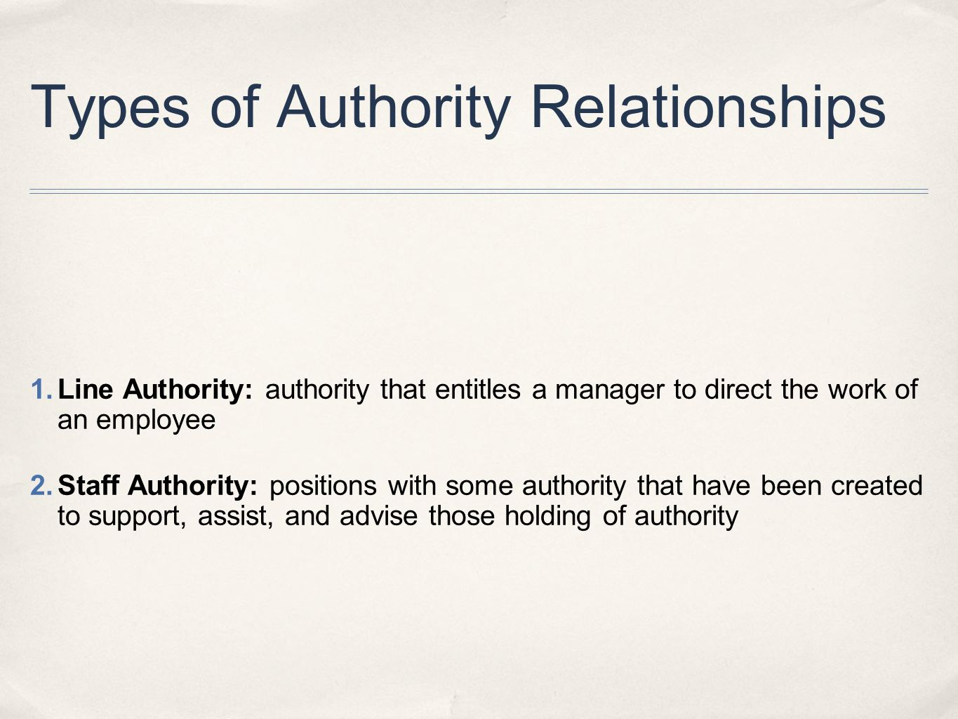 Types of Authority Relationships