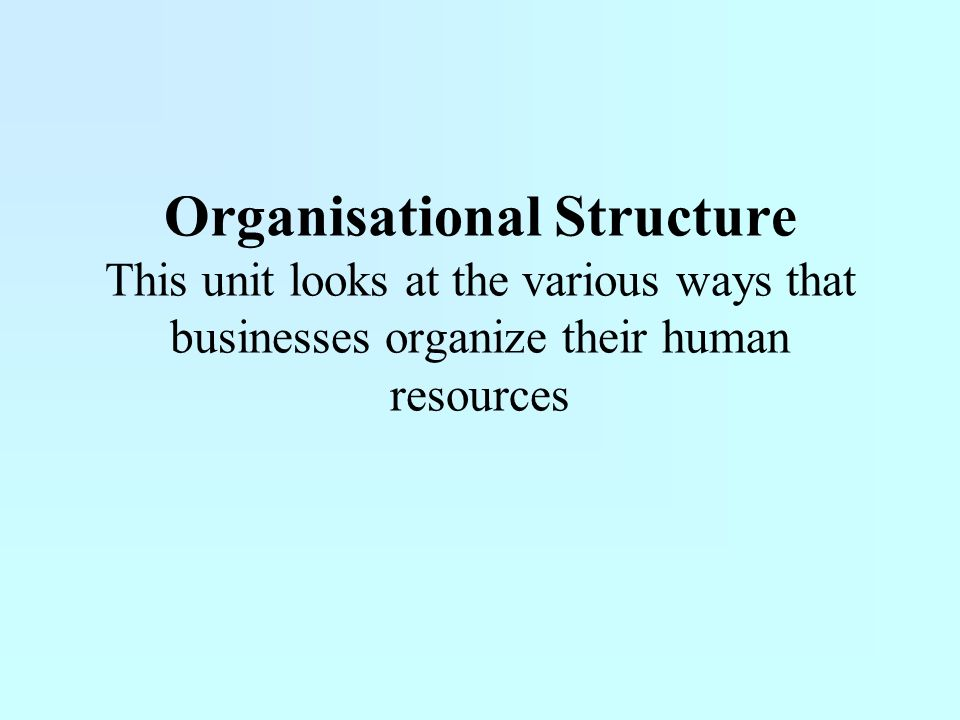 Organisational Structure This unit looks at the various ways that businesses organize their human resources