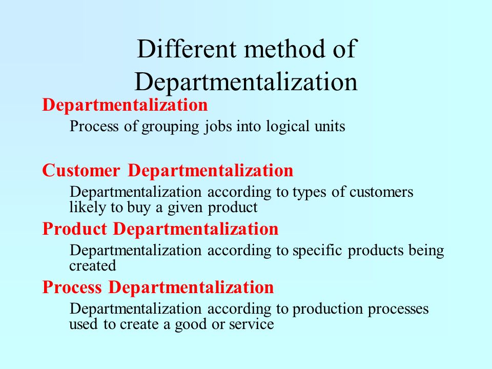 Different method of Departmentalization