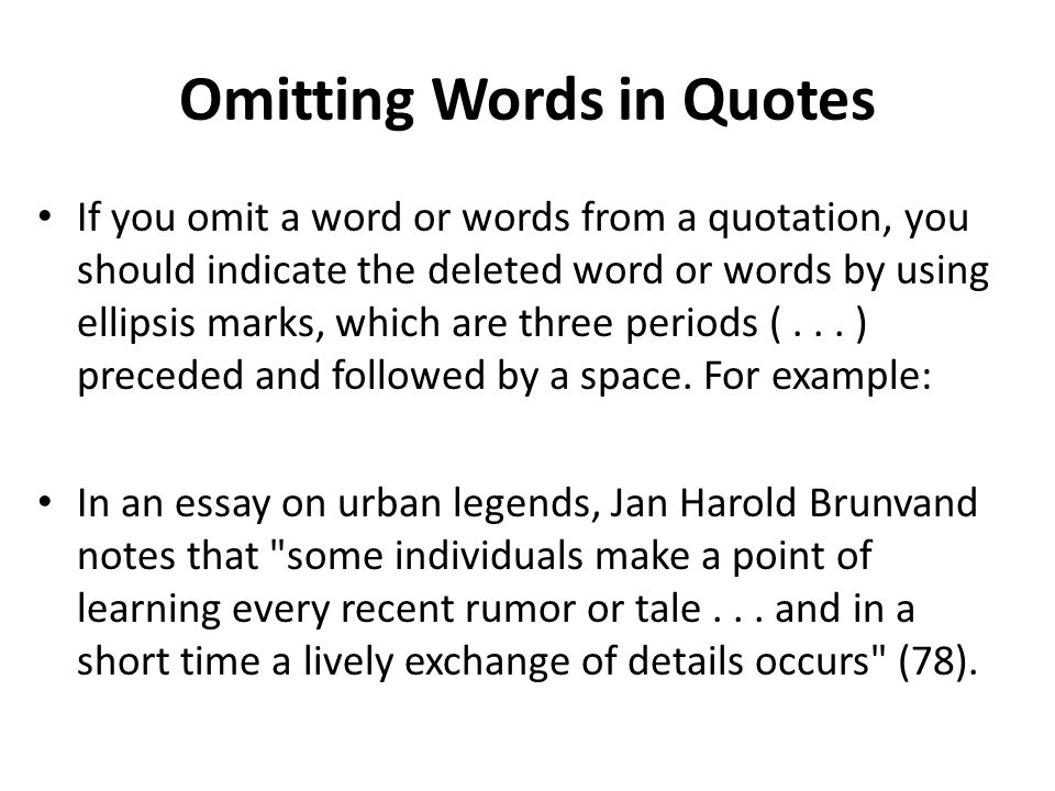 Omitting Words in Quotes