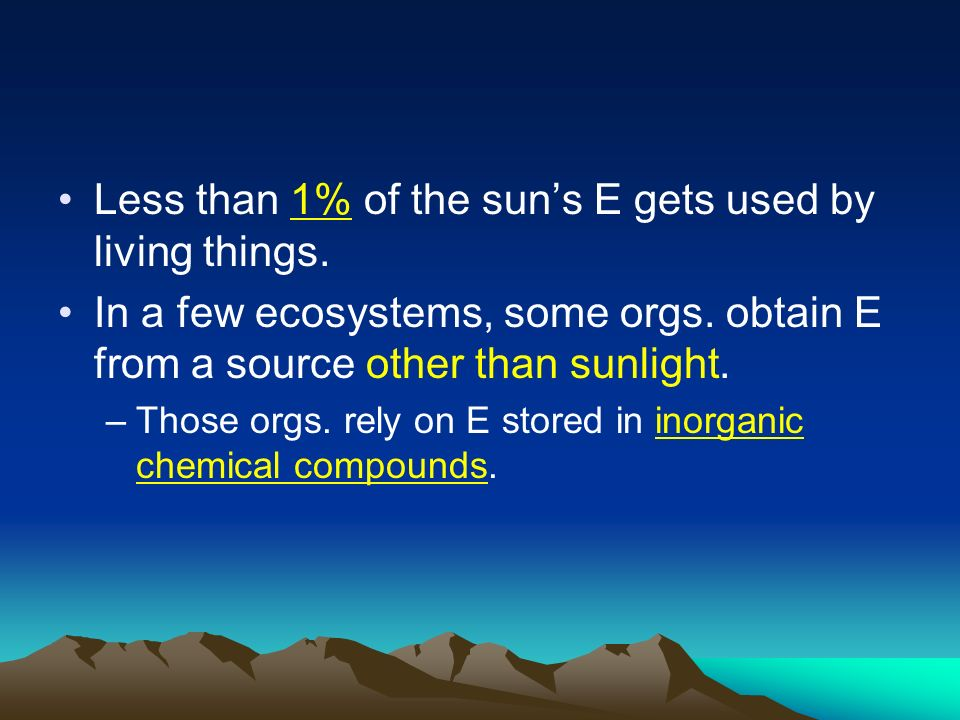 Less than 1% of the sun's E gets used by living things.