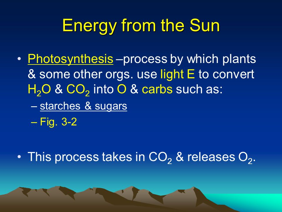 Energy from the Sun Photosynthesis –process by which plants & some other orgs. use light E to convert H2O & CO2 into O & carbs such as: