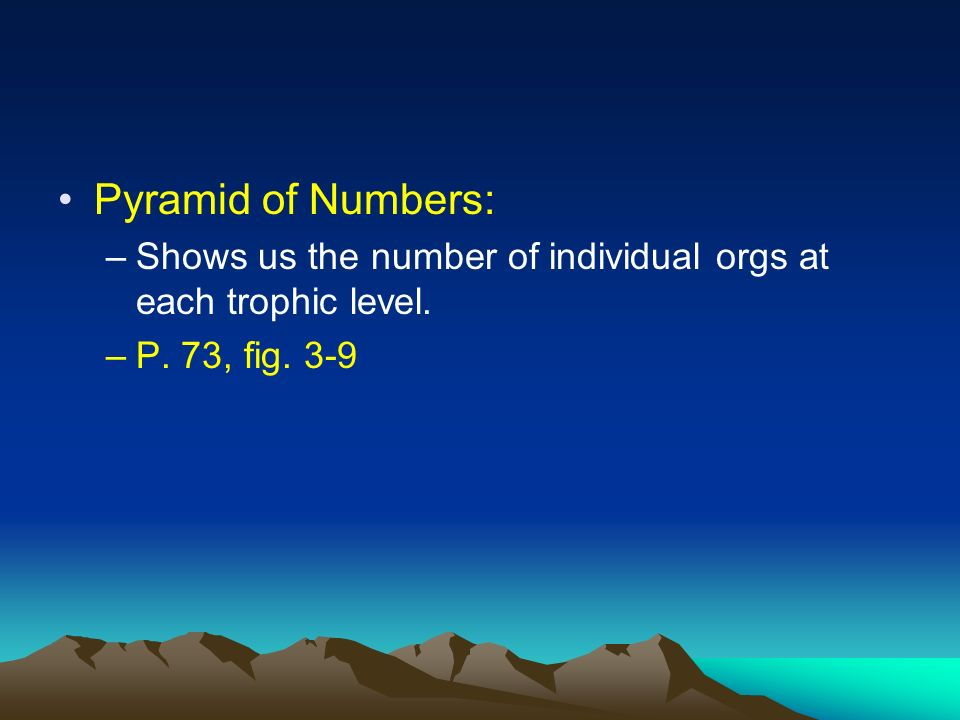 Pyramid of Numbers: Shows us the number of individual orgs at each trophic level. P. 73, fig. 3-9