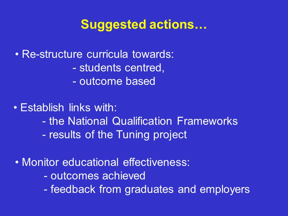 Suggested actions… Re-structure curricula towards: - students centred, - outcome based.