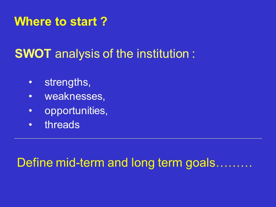 SWOT analysis of the institution :