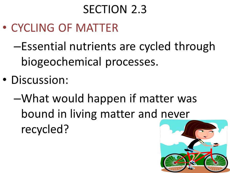 SECTION 2.3 CYCLING OF MATTER. Essential nutrients are cycled through biogeochemical processes. Discussion: