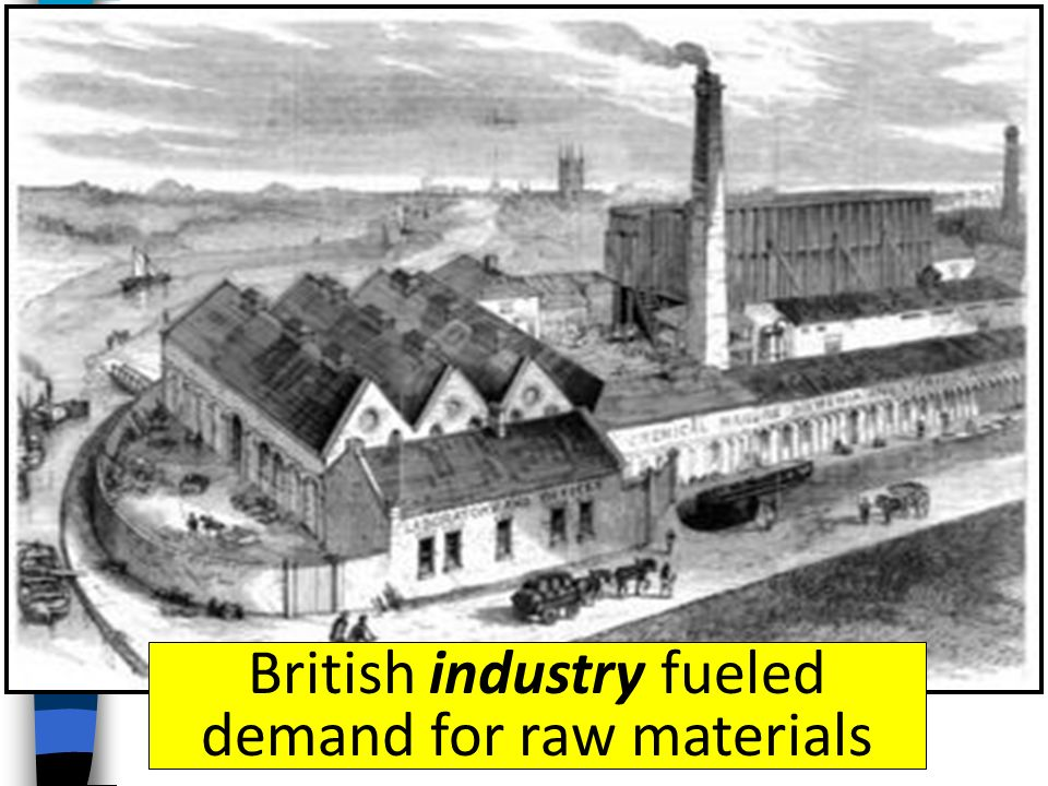 British industry fueled demand for raw materials