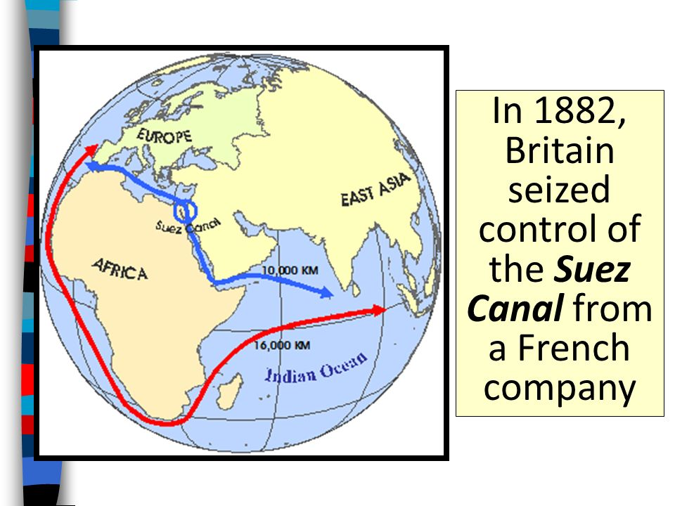 In 1882, Britain seized control of the Suez Canal from a French company