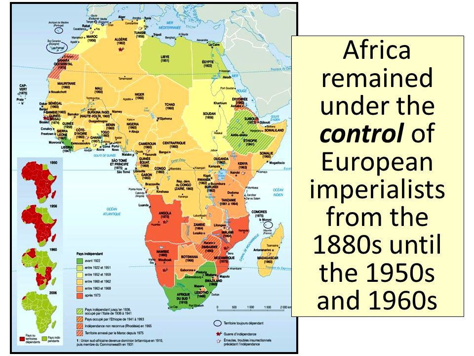 Africa remained under the control of European imperialists from the 1880s until the 1950s and 1960s